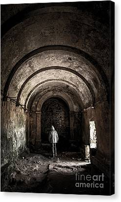 Man Inside A Ruined Chapel Canvas Print