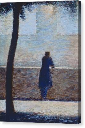Man Leaning On A Parapet Canvas Print by Georges Pierre Seurat