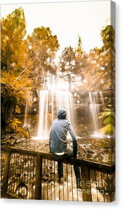 Canvas Print featuring the photograph Man Looking At Waterfall by Jorgo Photography - Wall Art Gallery