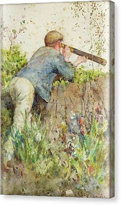 Canvas Print featuring the painting Man Looking Through A Telescope by Henry Scott Tuke