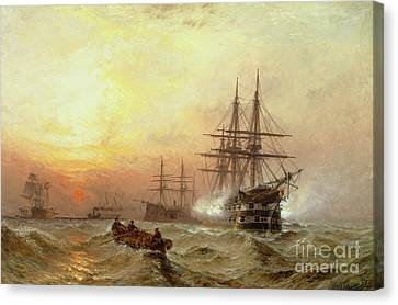 Man-o-war Firing A Salute At Sunset Canvas Print by Claude T Stanfield Moore