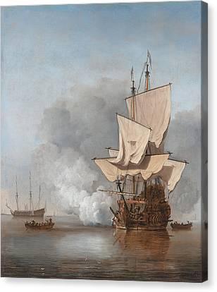 Man-of-war Firing A Cannon Shot  Canvas Print by War Is Hell Store