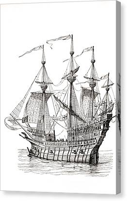 Sail Cloth Canvas Print - Man-of-war Which Carried King Henry by Vintage Design Pics