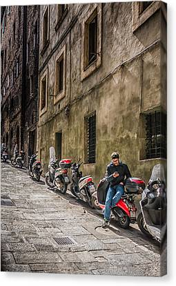 Man On A Scooter Siena-style Canvas Print