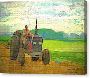Man On A Tractor Canvas Print