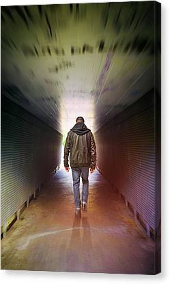 Man On A Tunnel Canvas Print by Carlos Caetano