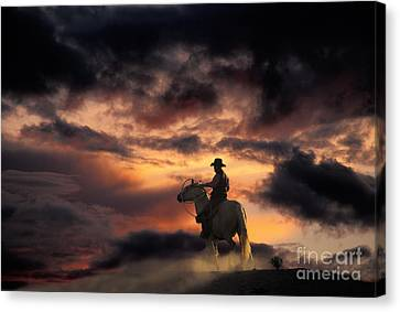 Man On Horseback Canvas Print by Ron Sanford and Photo Researchers