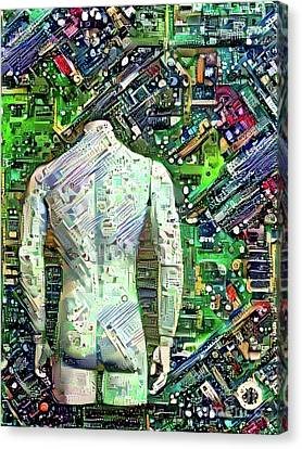 Man On Motherboard Canvas Print