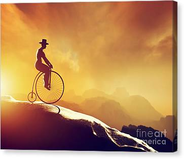Man On Retro Bicycle Riding Downhill Canvas Print by Michal Bednarek