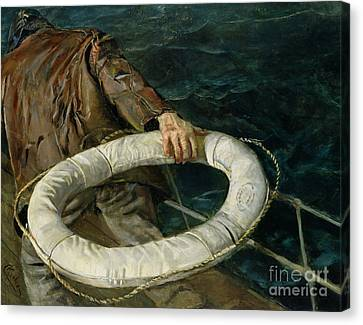 Lost At Sea Canvas Print - Man Overboard, 1906 by Christian Krohg