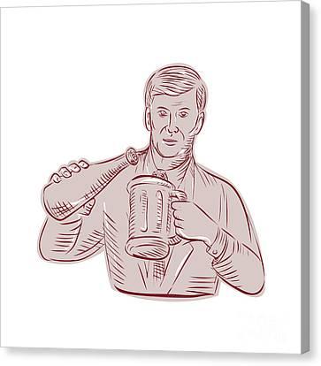Man Pouring Beer Mug Etching Canvas Print