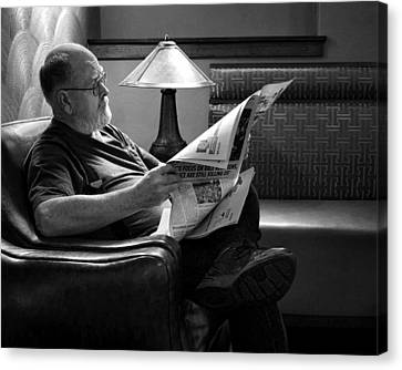 Man - Reading - Newspaper Canvas Print by Nikolyn McDonald