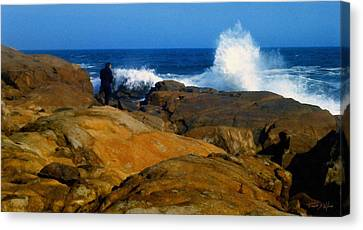 Man Rocks And Sea Canvas Print by Frank Wilson