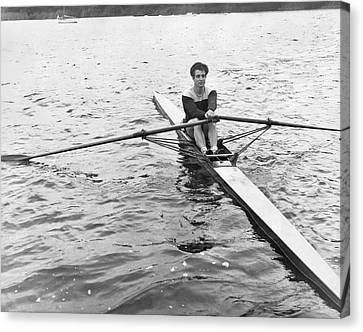 Man Rowing A Scull Canvas Print by Underwood Archives