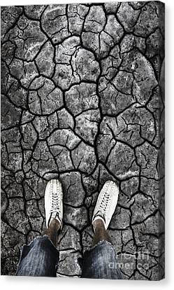 Man Standing In Drought Stricken Australia  Canvas Print by Jorgo Photography - Wall Art Gallery