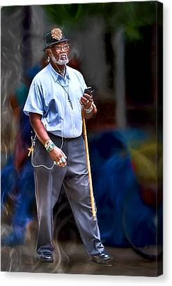 Man With A Cane Canvas Print