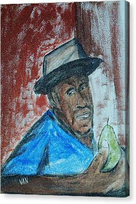 Man With A Pear Canvas Print by Van Winslow