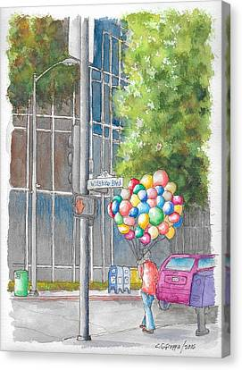Man With Balloons In Wilshire Blvd., Beverly Hills, California Canvas Print by Carlos G Groppa