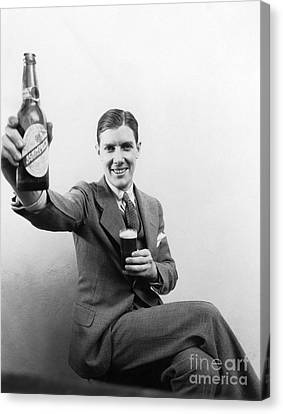 Man With Beer, C.1930s Canvas Print