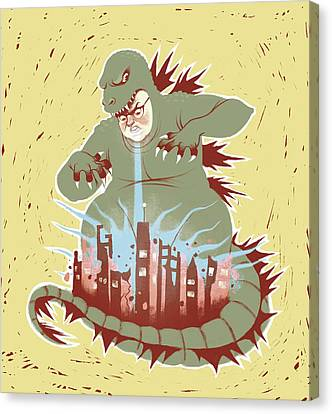 Man With Dragon Costume Destroying City Canvas Print