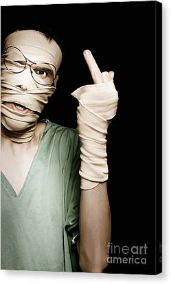 Man With Head Trauma Giving Rude Finger To Accused Canvas Print by Jorgo Photography - Wall Art Gallery