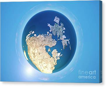 Manama 3d Little Planet 360-degree Sphere Panorama Canvas Print by Frank Ramspott
