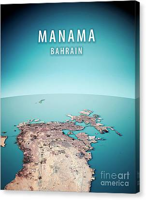 Middle East Canvas Print - Manama 3d Render Satellite View Topographic Map Vertical by Frank Ramspott