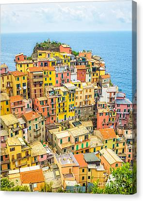 Manarola Cinque Terra City Canvas Print by Edward Fielding