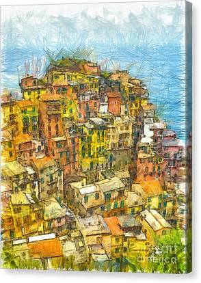 Manarola Cinque Terra City Pencil Canvas Print by Edward Fielding