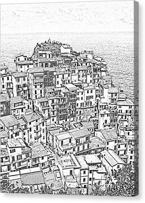 Manarola Cinque Terra Italy Canvas Print by Edward Fielding