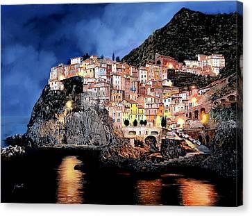 Manarola Di Notte Canvas Print by Guido Borelli
