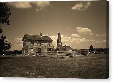 Sepia Vintage Farmhouse Canvas Print - Manassas Battlefield Farmhouse 2 Sepia by Frank Romeo