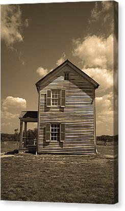 Sepia Vintage Farmhouse Canvas Print - Manassas Battlefield Farmhouse Sepia by Frank Romeo