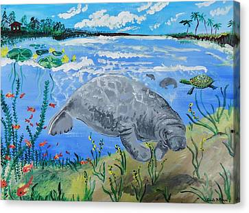 manatee in the Lagoon Canvas Print by Renate Pampel