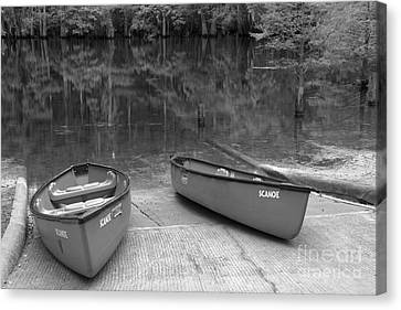 Manatee Springs Black And White Boat Launch Canvas Print