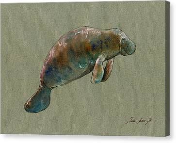 Manatee Watercolor Art Canvas Print by Juan  Bosco