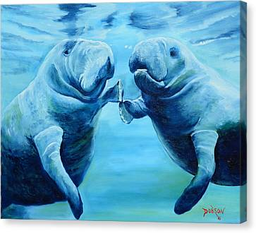 Manatees Socializing Canvas Print