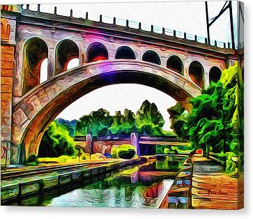 Manayunk Canal And Bridge Canvas Print by Bill Cannon