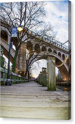 Manayunk - Towpath And Bridge Canvas Print by Bill Cannon