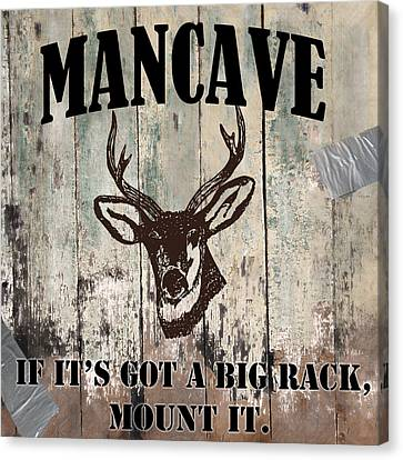 Mancave Deer Rack Canvas Print by Mindy Sommers