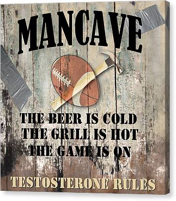 Mancave Football Canvas Print by Mindy Sommers