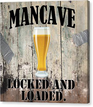 Mancave Locked And Loaded Canvas Print by Mindy Sommers