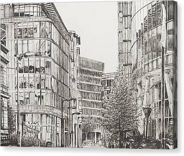 Pen And Ink Drawings Canvas Print - Manchester  Deansgate by Vincent Alexander Booth