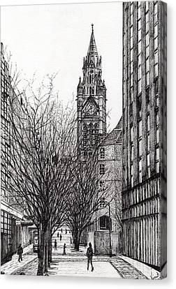 Manchester Town Hall From Deansgate Canvas Print