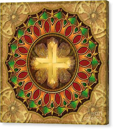Mandala Illuminated Cross Canvas Print by Bedros Awak