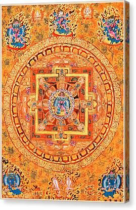 Mandala Of Heruka In Yab Yum Canvas Print by Lanjee Chee