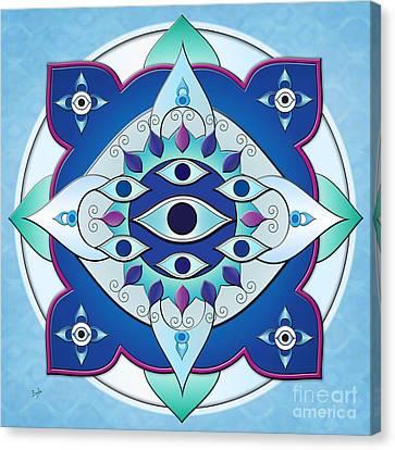 Mandala Of The Seven Eyes Canvas Print by Bedros Awak