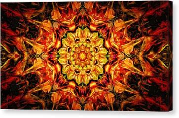 Mandala Of The Sun In A Dark Kingdom Canvas Print by Anton Kalinichev