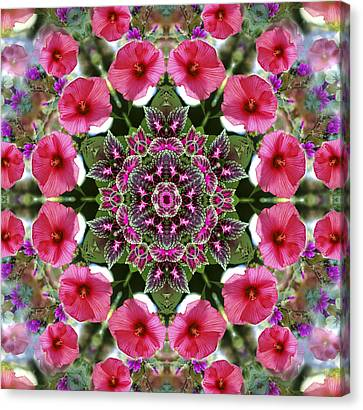 Canvas Print featuring the digital art Mandala Pink Patron by Nancy Griswold