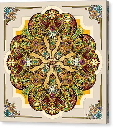 Mandala Sacred Rams - Bright Version Canvas Print by Bedros Awak